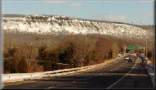 Snow capped Mount Higby as seen from I-691  East bound
